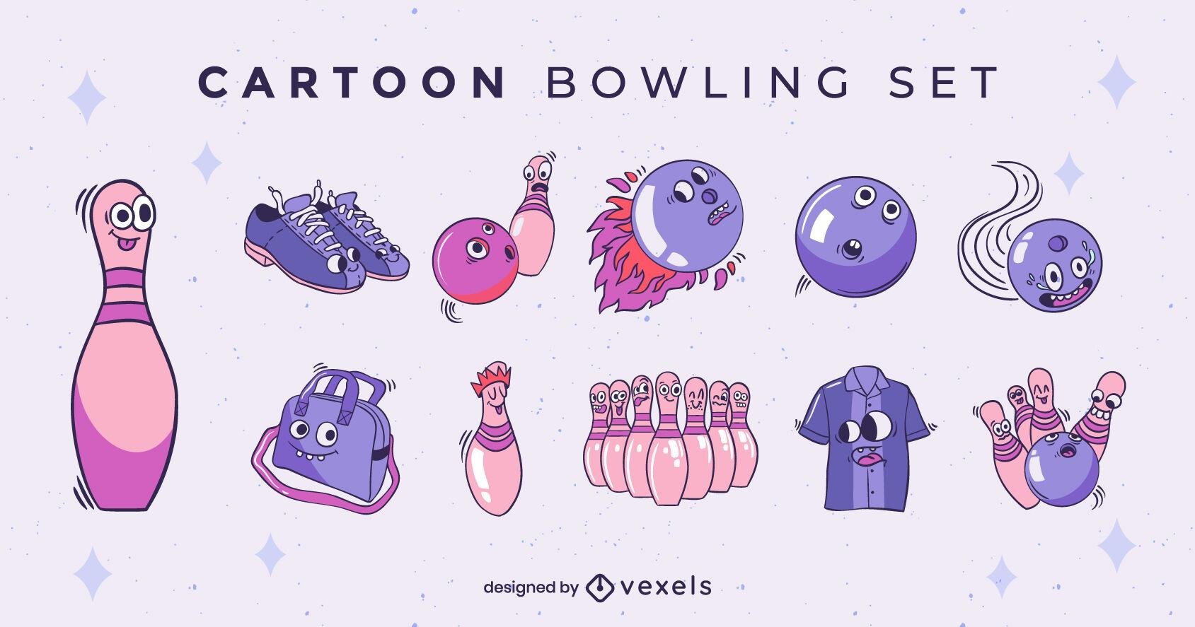 Conjunto de dibujos animados de personajes de bolos