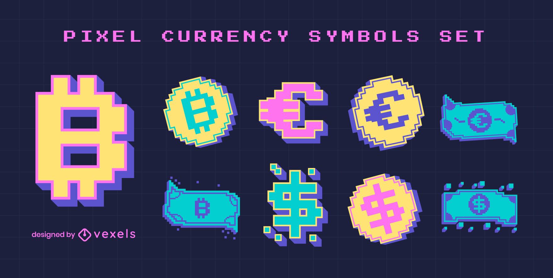 Conjunto de pixel art de cores de símbolos de moeda