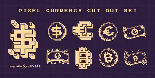 Currency symbols cut out pixel art set
