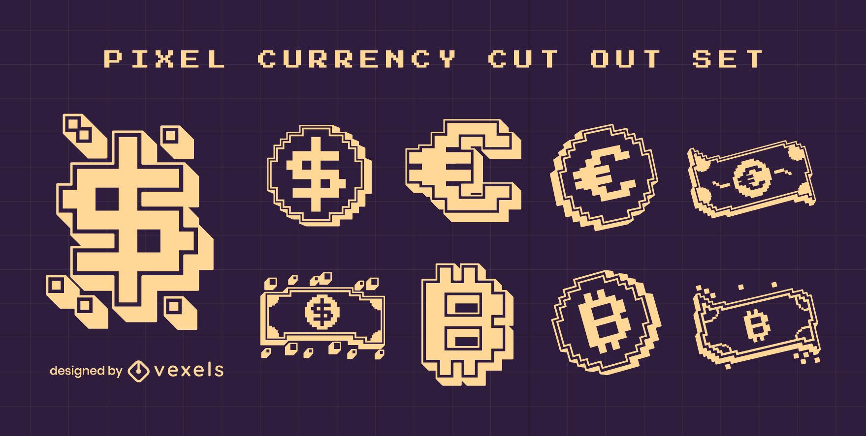 S?mbolos de moneda recortados pixel art set