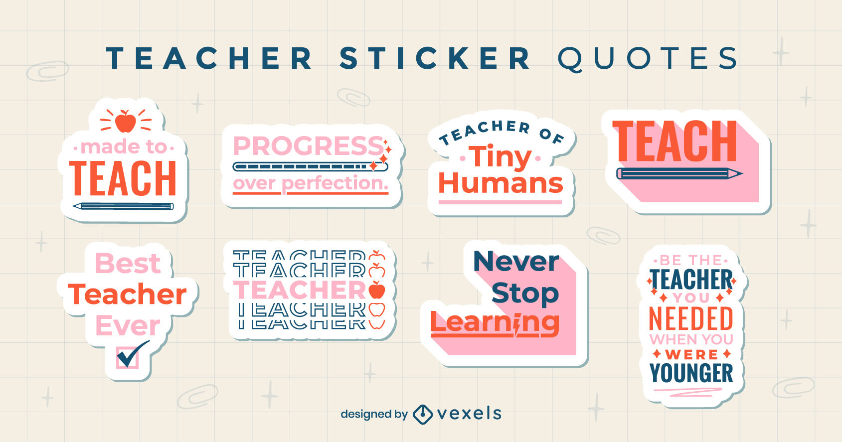 Teacher quotes set of stickers