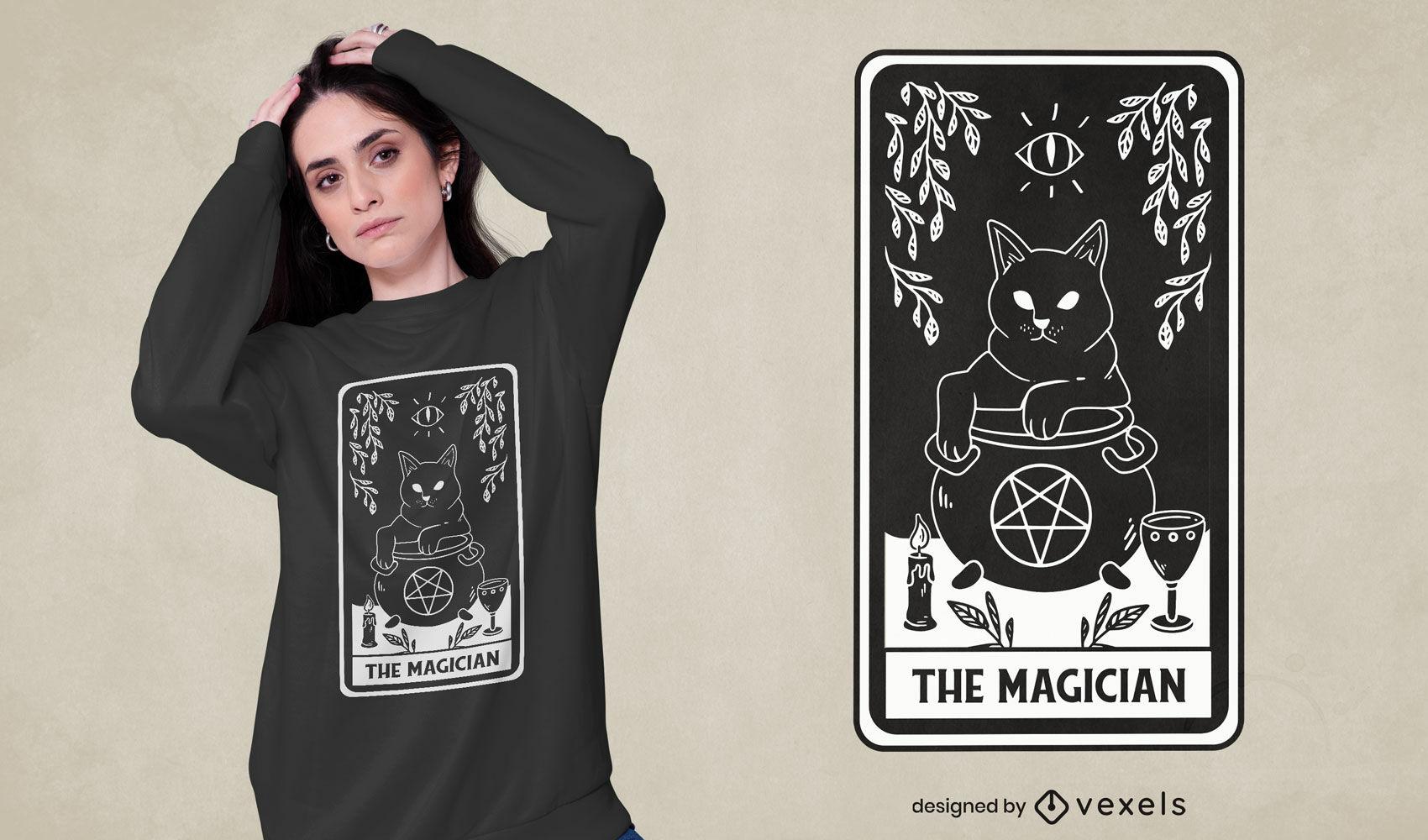 O design de t-shirt com cartas de tarô mágico