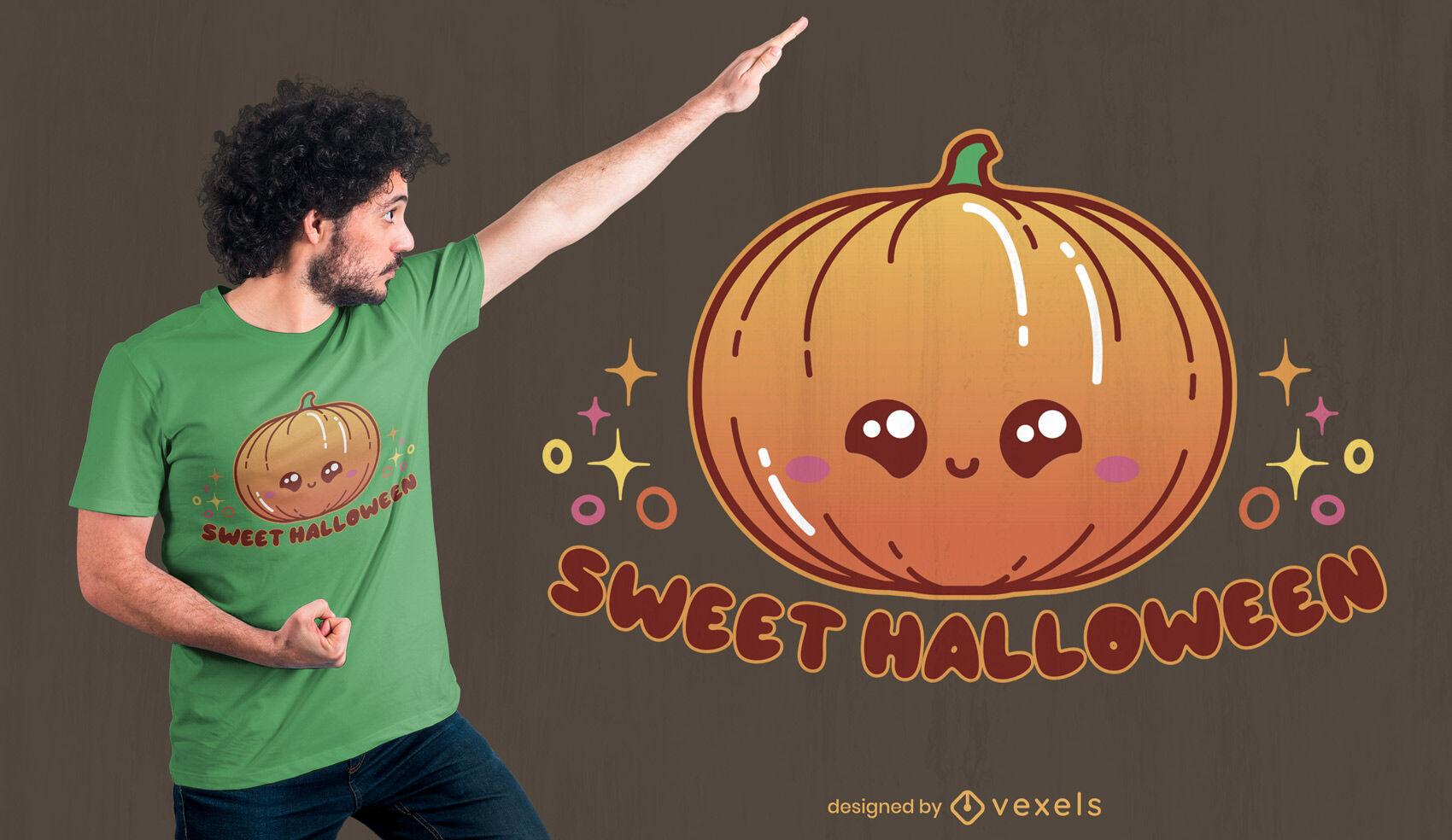 Diseño de camiseta de calabaza de halloween kawaii
