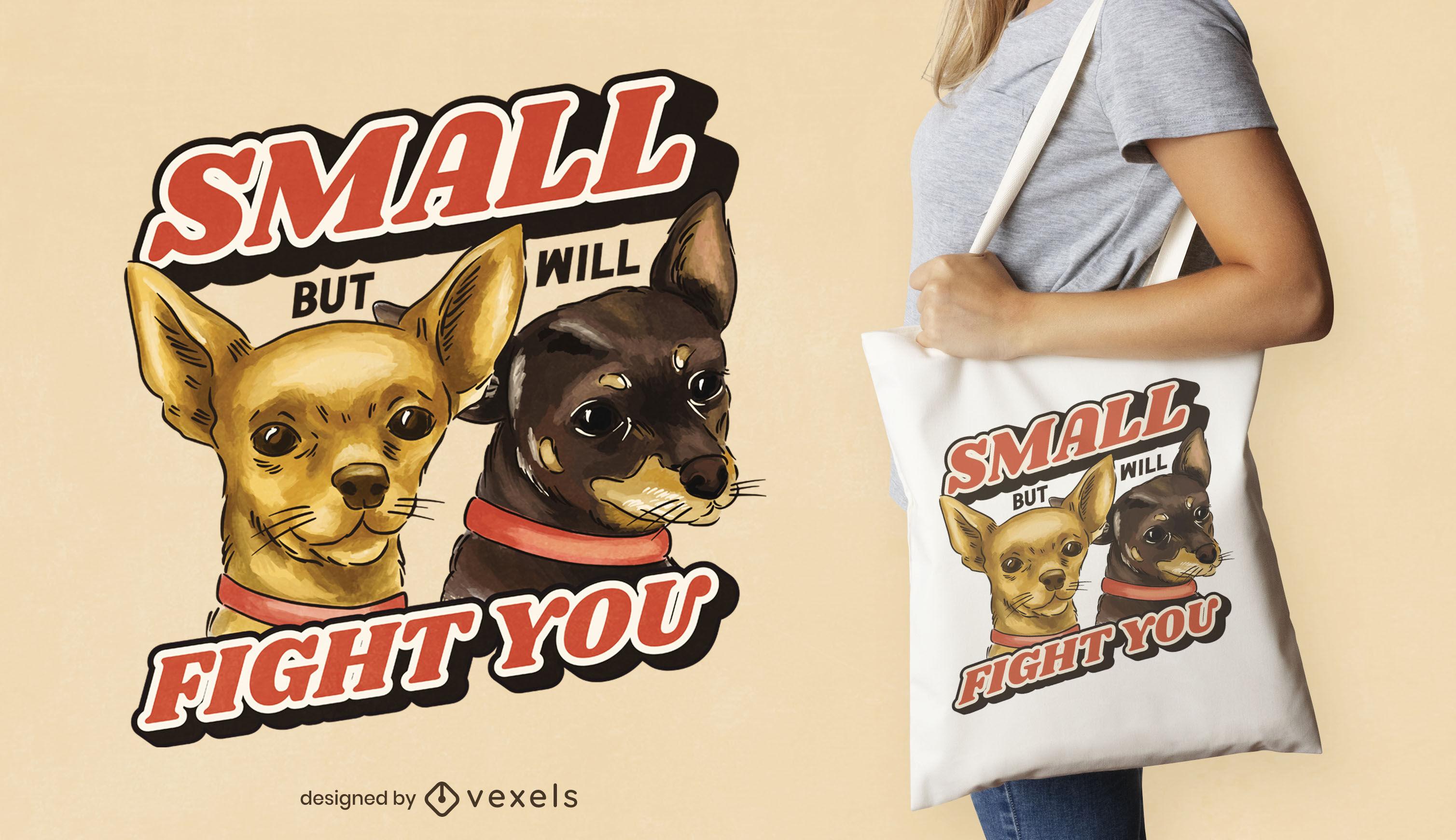 Design de sacola para cães chihuahua