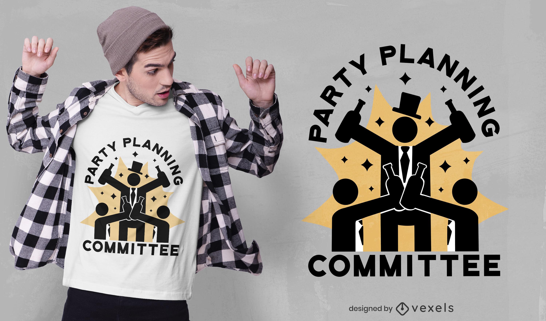 Diseño de camiseta del comité de planificación de fiestas.