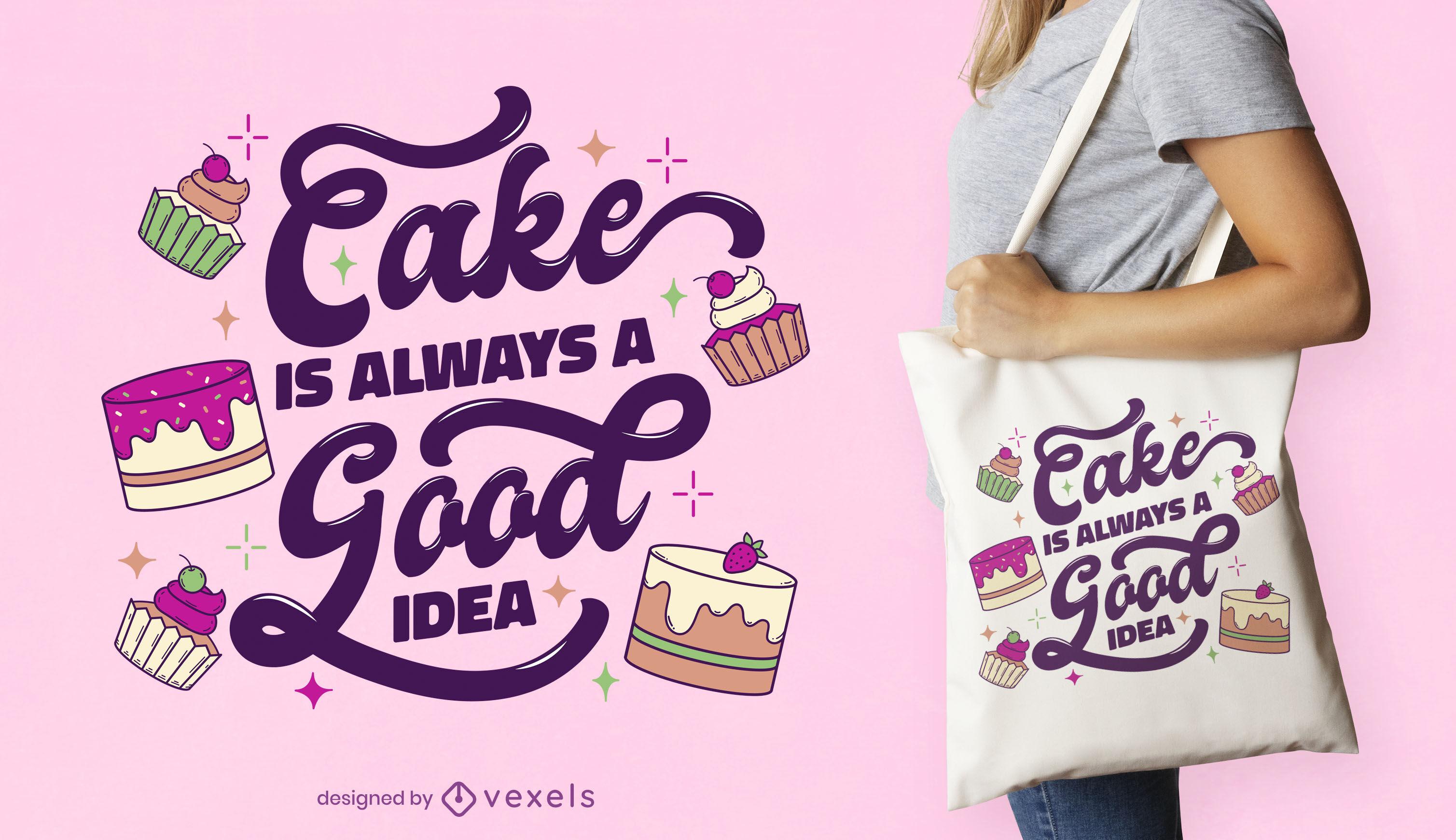 Diseño de bolso de mano con letras de pastel