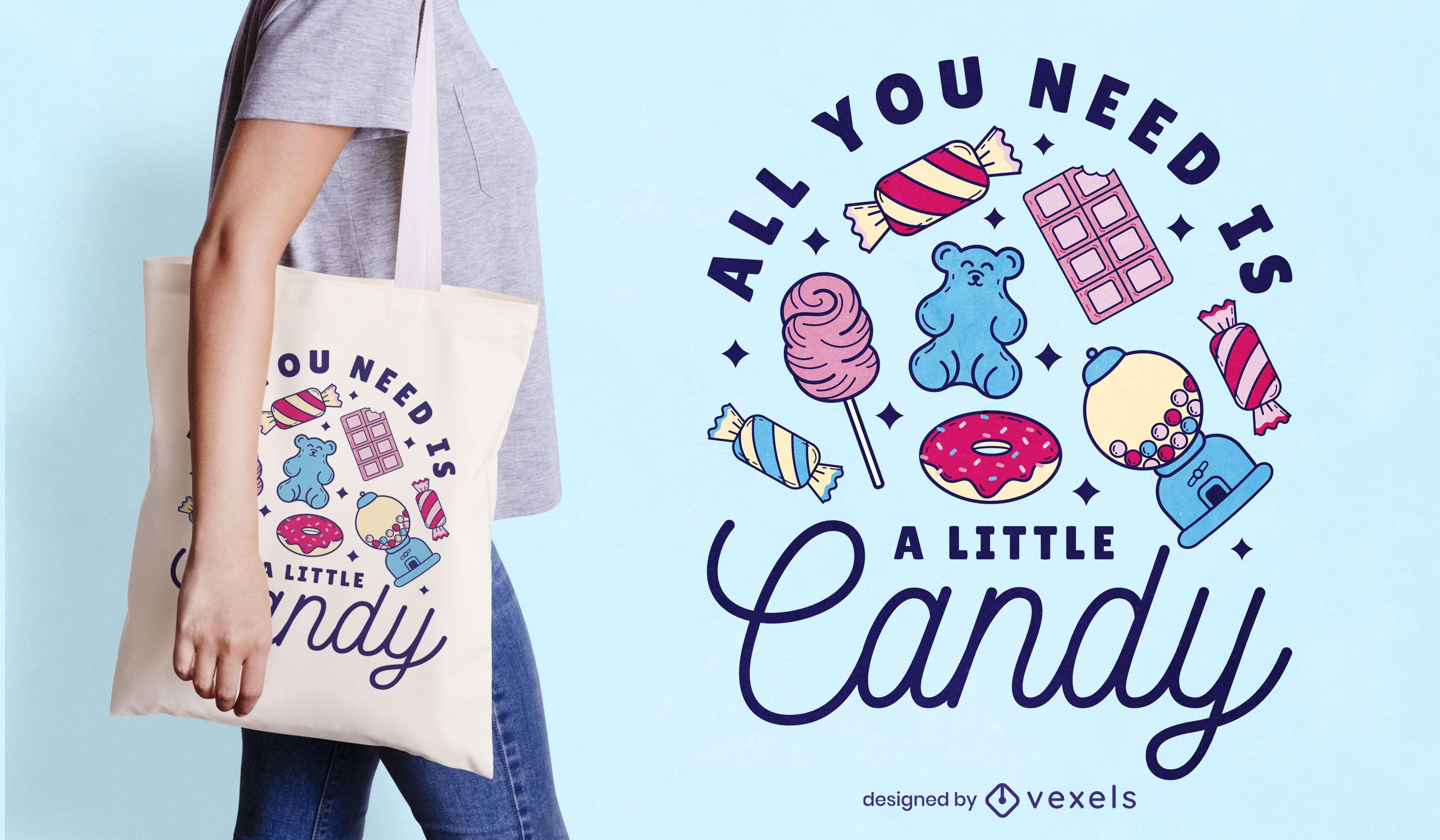 Color stroke candy tote bag design
