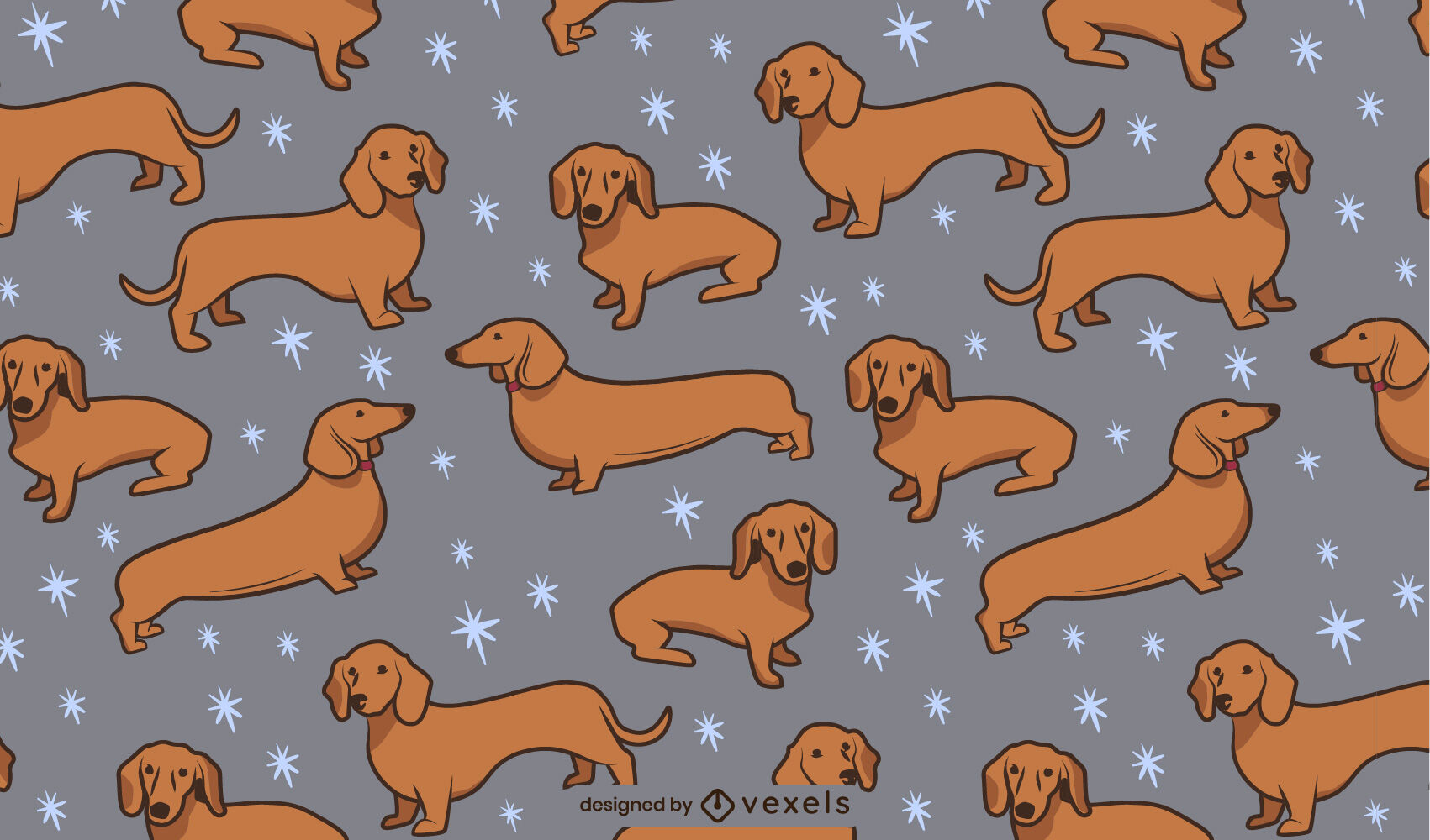 Patrón de trazo de color de perro Daschund