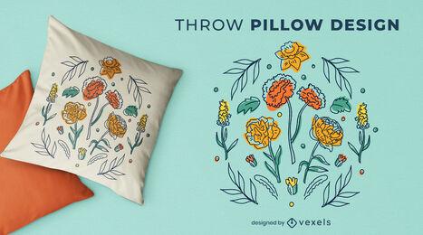 Flower garden nature throw pillow design