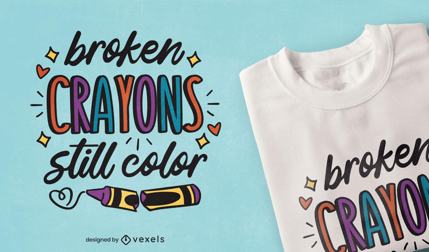 T-Shirt-Design mit gebrochenen Buntstiften