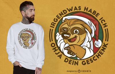 Sloth santa german t-shirt design