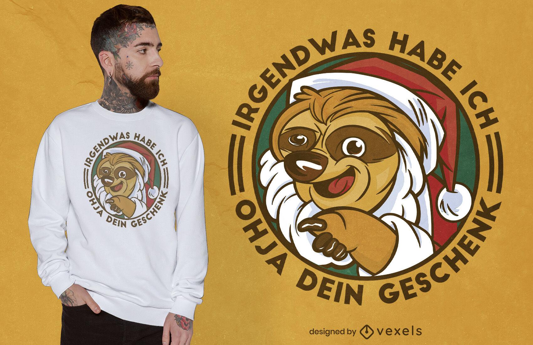 Diseño de camiseta perezoso santa alemán
