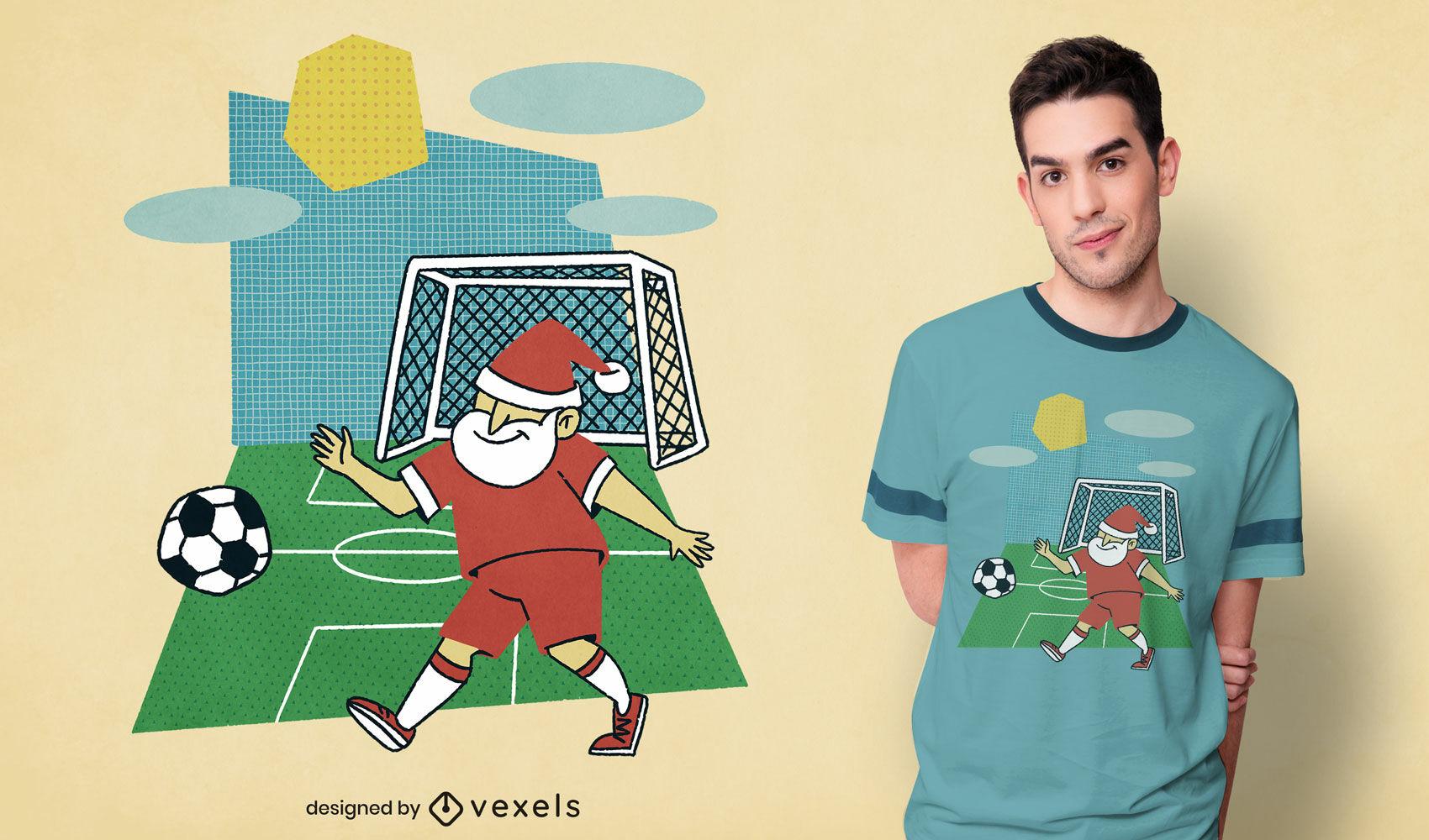 Camiseta de papá noel jugando al fútbol psd
