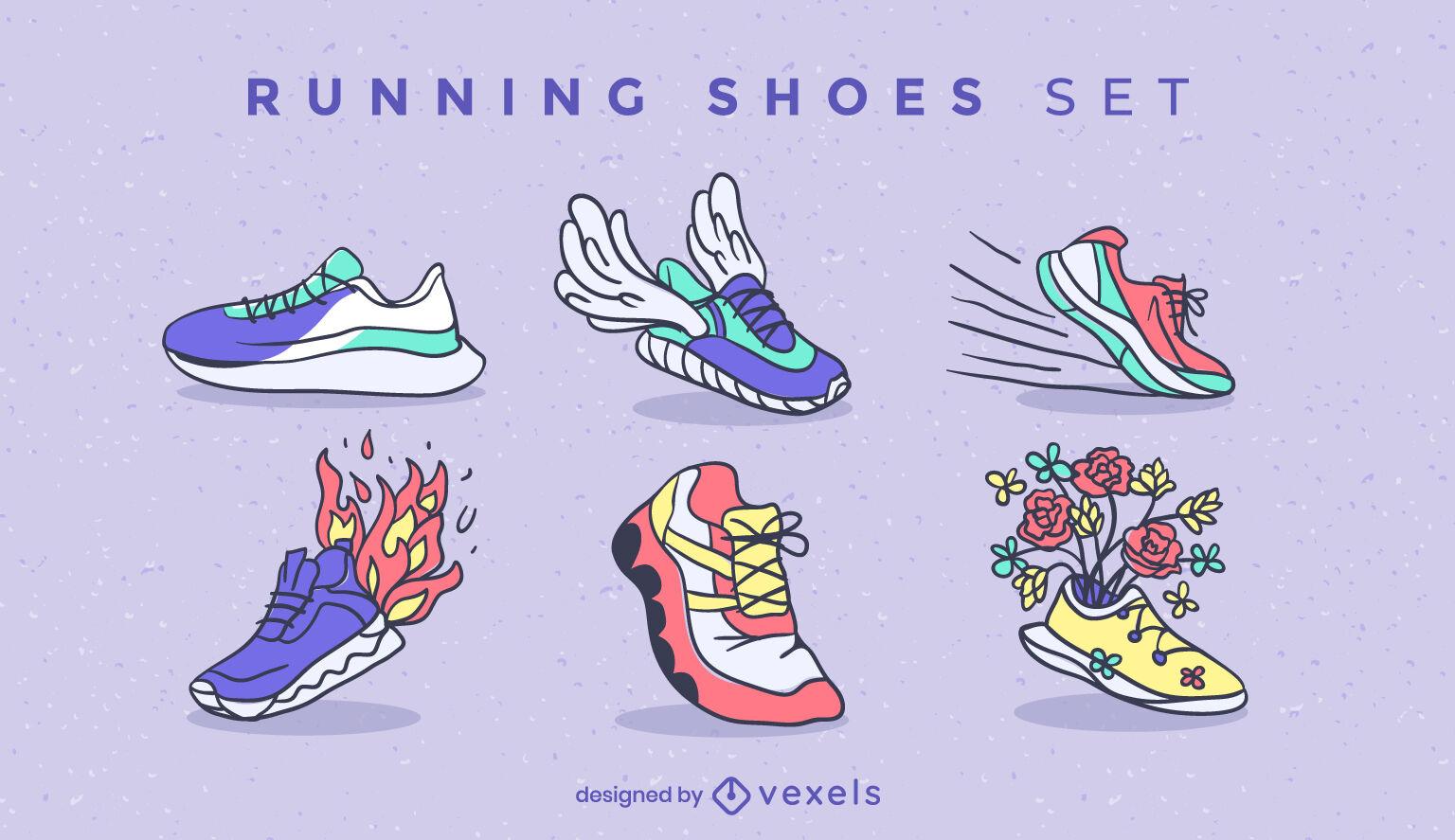 Conjunto de trazos de color de zapatillas para correr