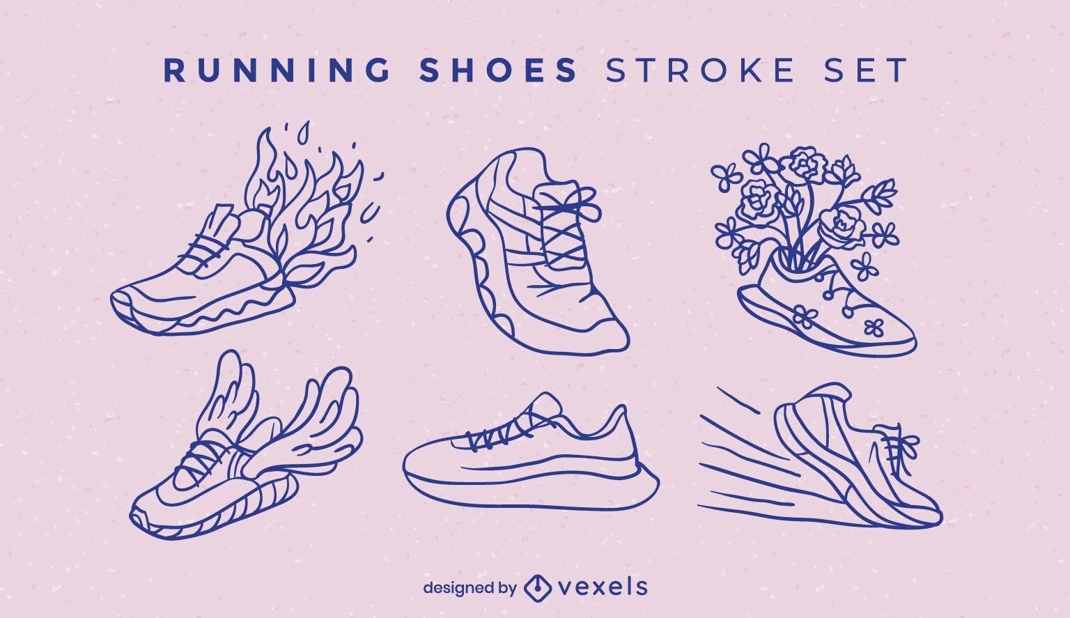 Running shoes stroke set