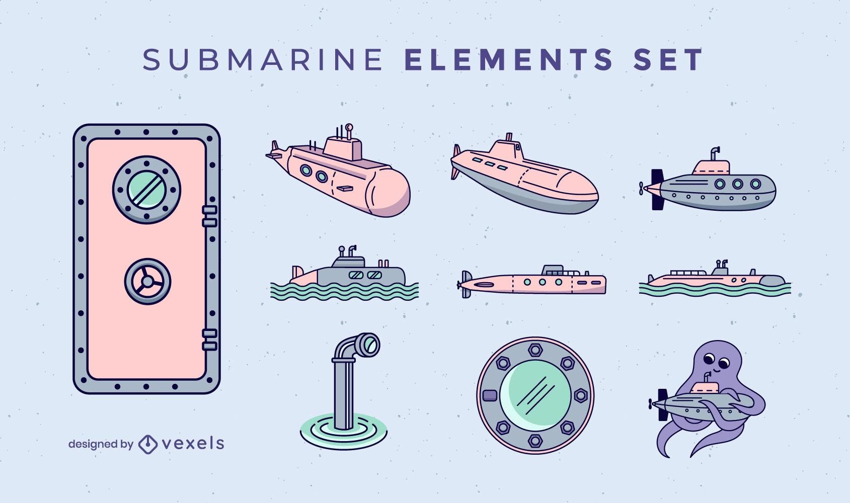 Submarine set of color stroke elements