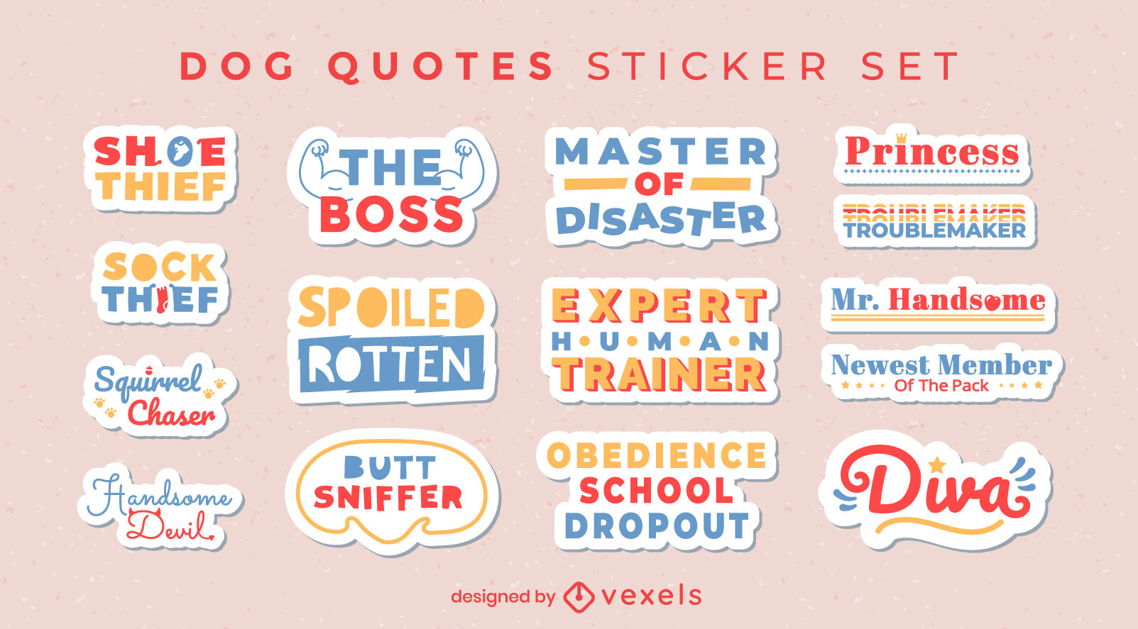 Dog set of stickers with quotes