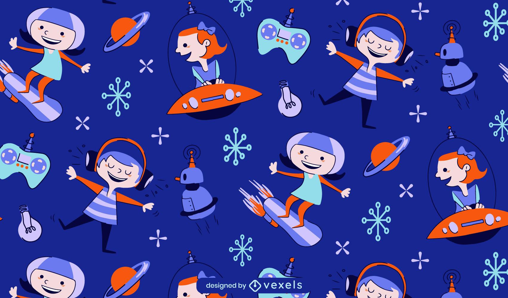 Patrón de dibujos animados retro de niños futuristas