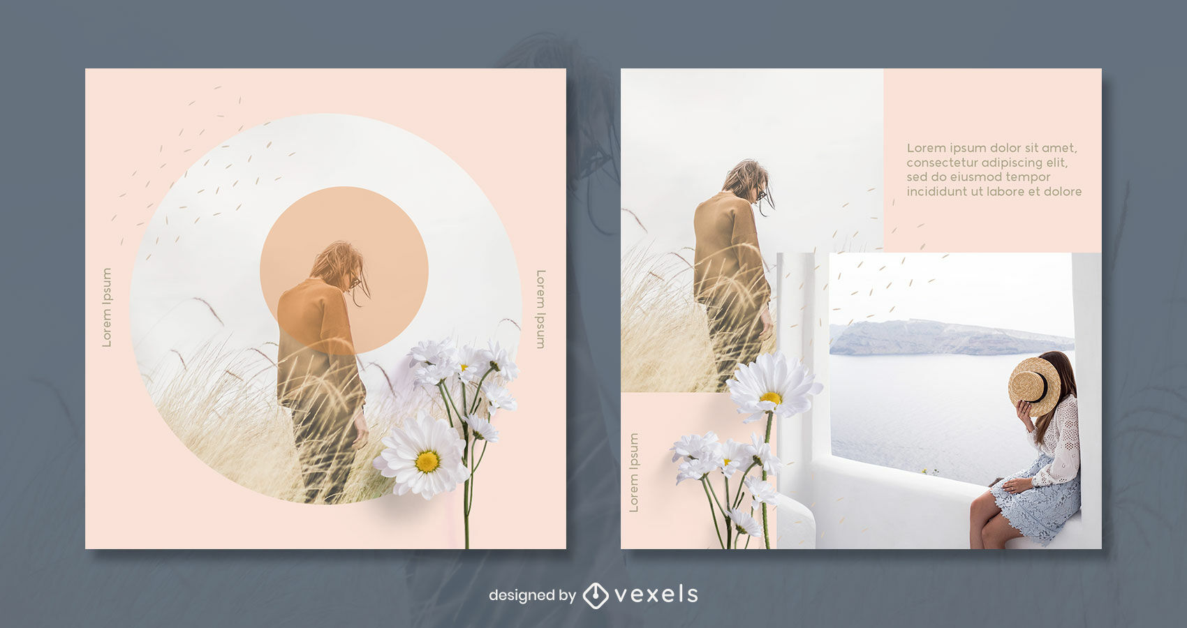 Geometric and flowers post template