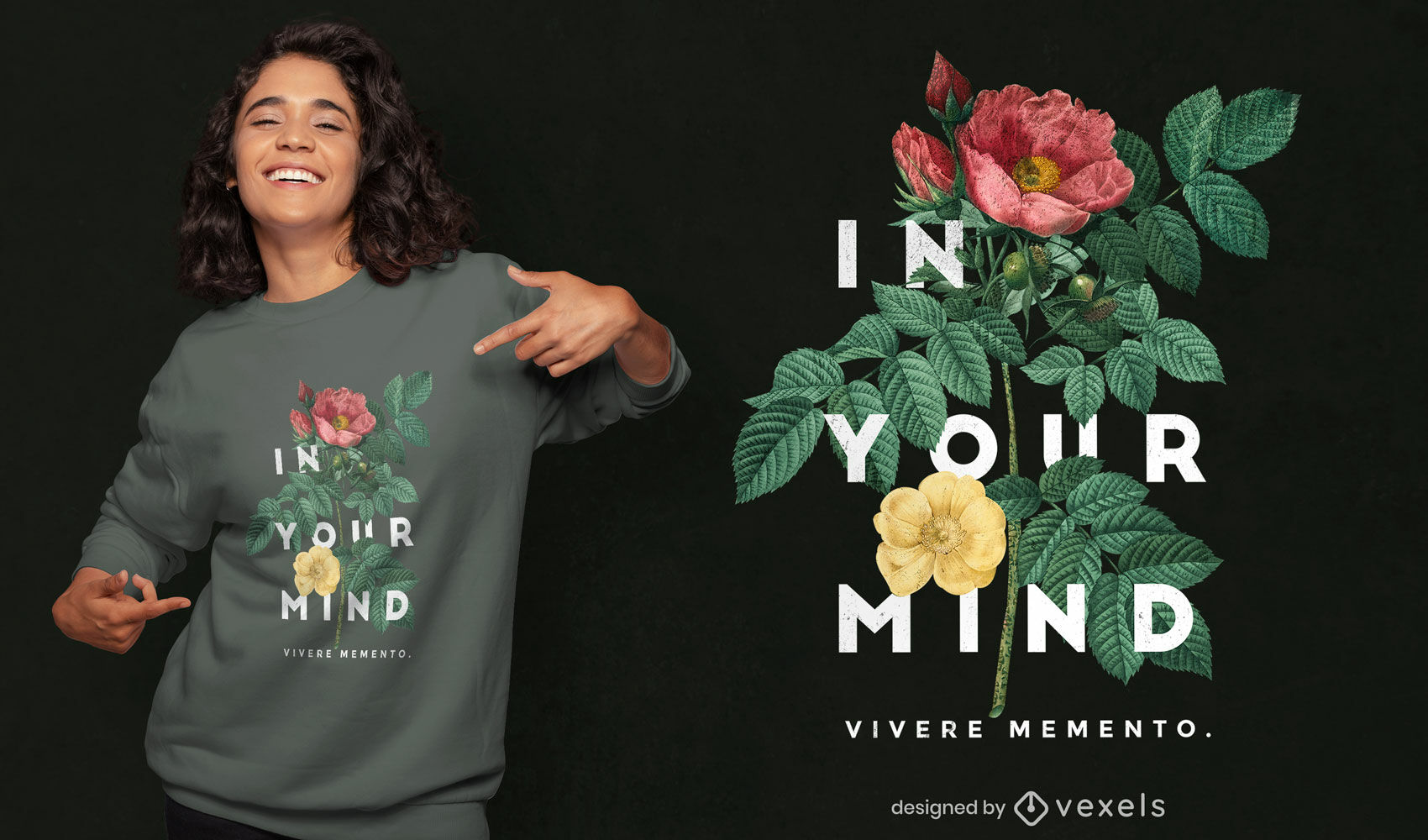 Flowers and leaves photographic t-shirt psd