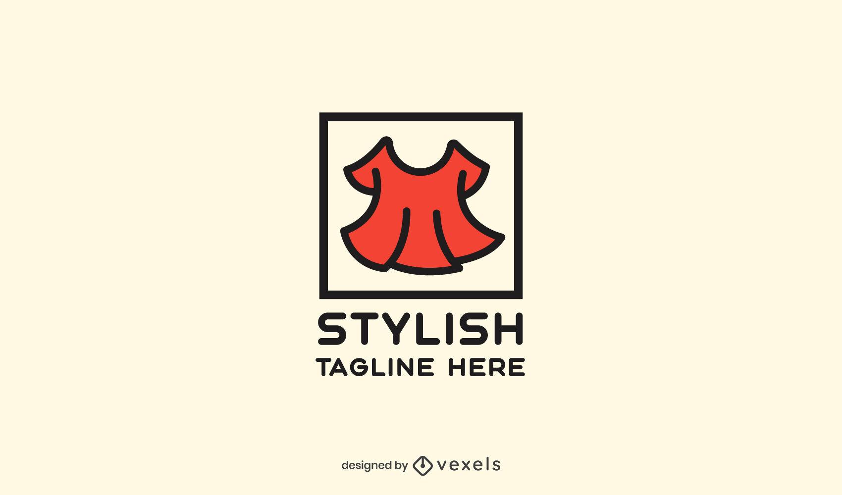 Modelo de logotipo com traço em cor de vestido vermelho