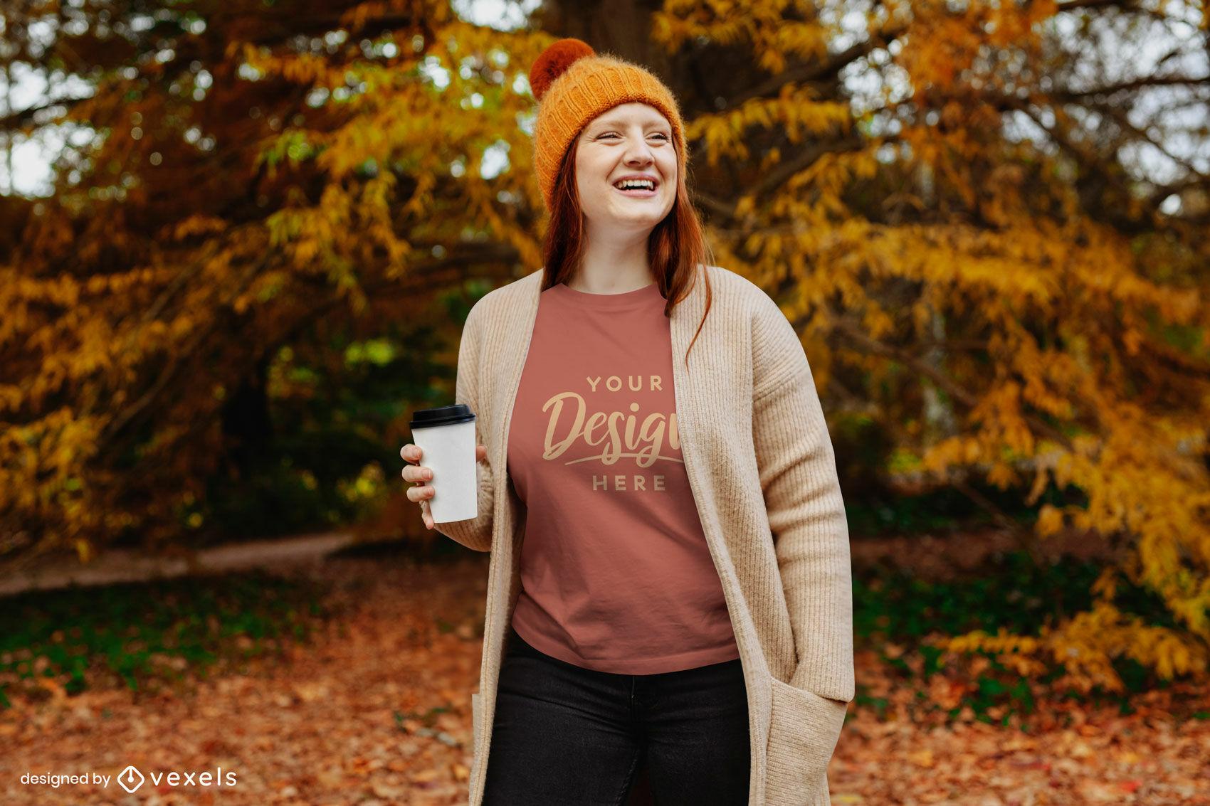 Ginger in fall park sudadera maqueta