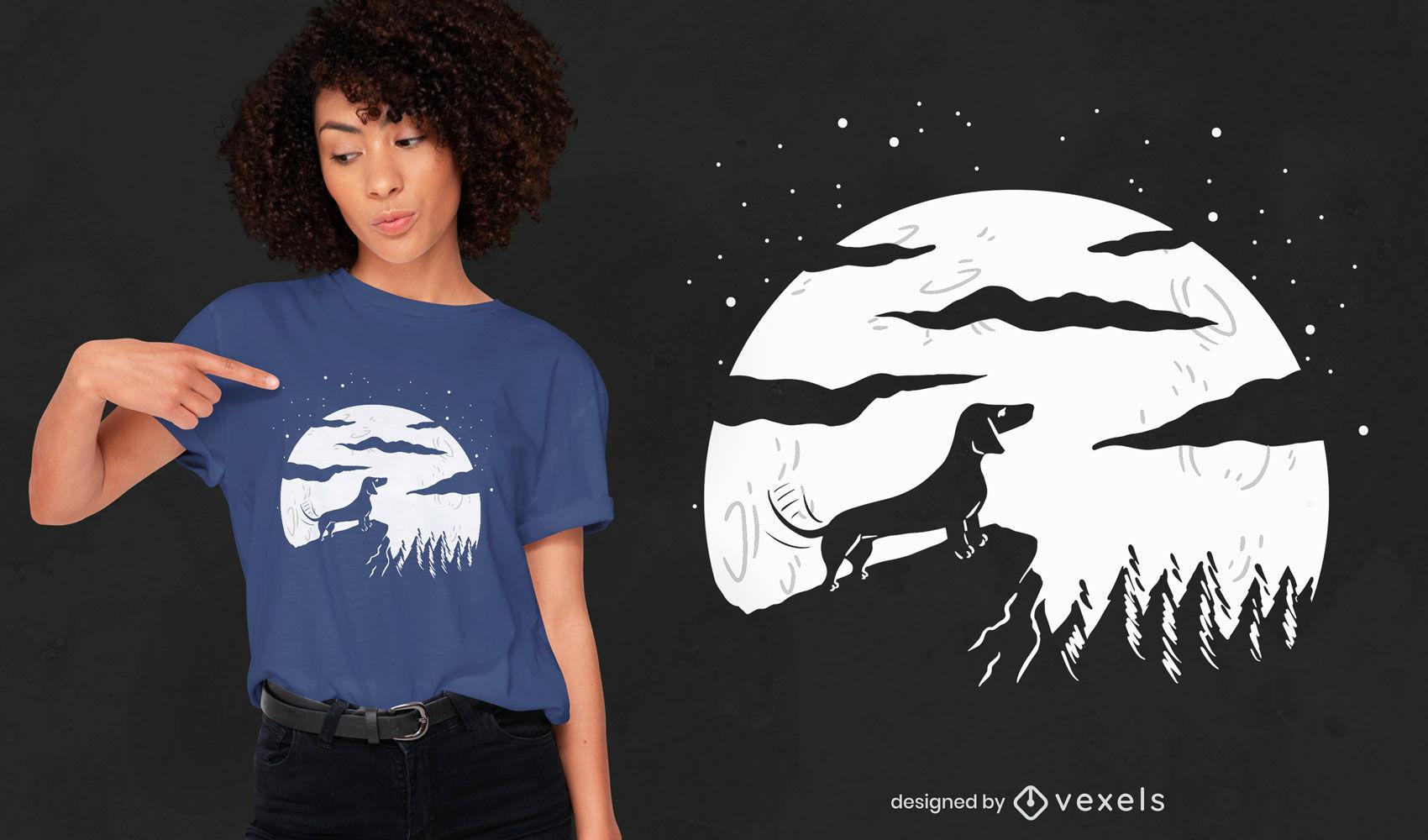 Hund Vollmond T-Shirt Design