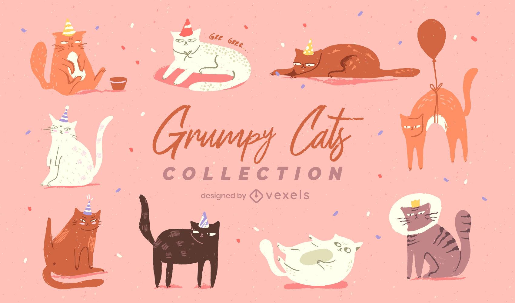Conjunto de ilustración de gato gruñón