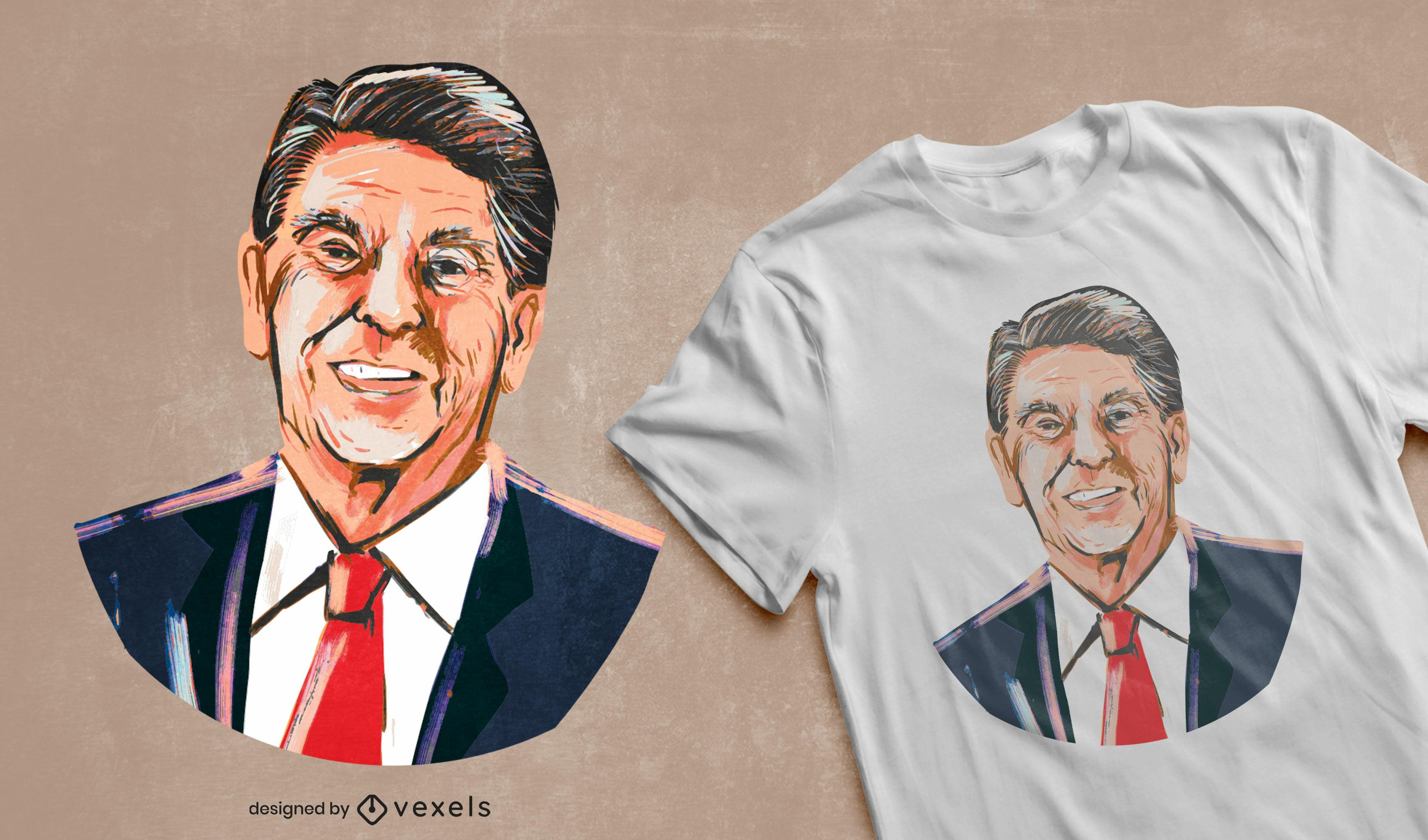 Diseño de camiseta de ilustración de Ronald Reagan