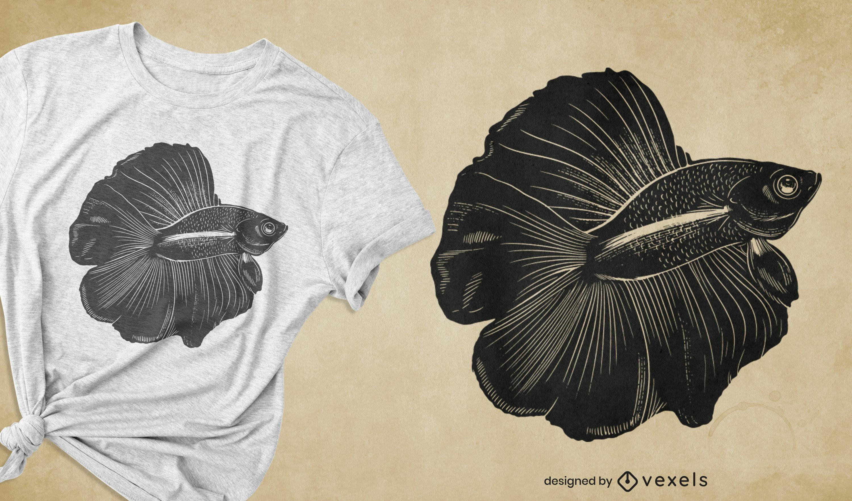 Diseño de camiseta de especies de peces Betta.