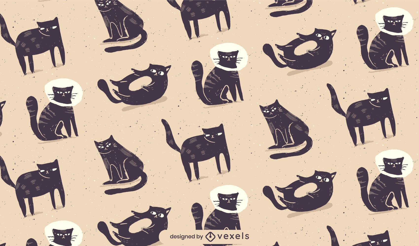 Patrón de ilustración de gatos negros