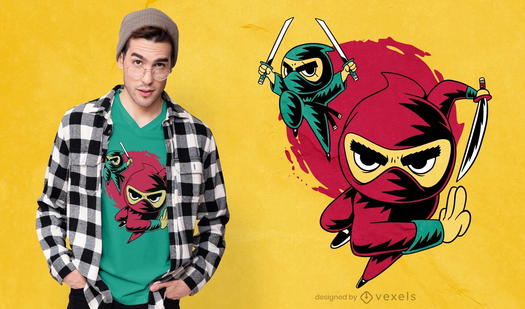 Diseño de camiseta de dibujos animados ninja simple.