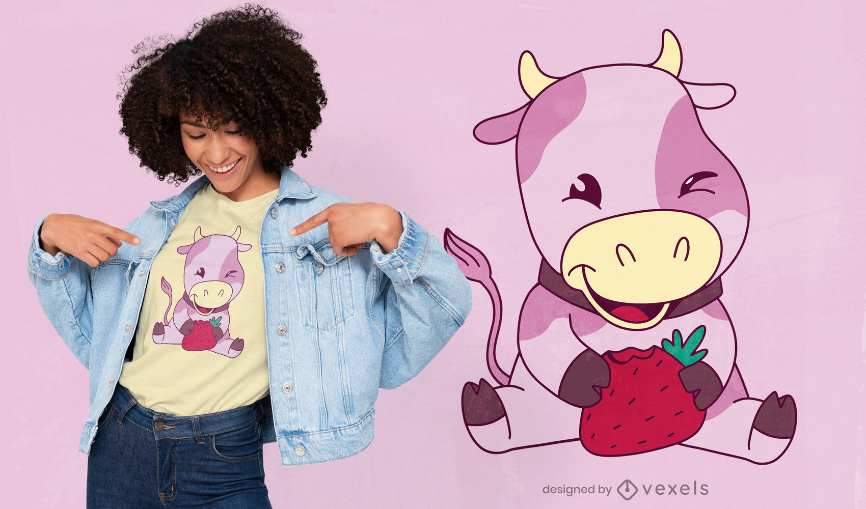 Strawberry pink cow milk t-shirt design