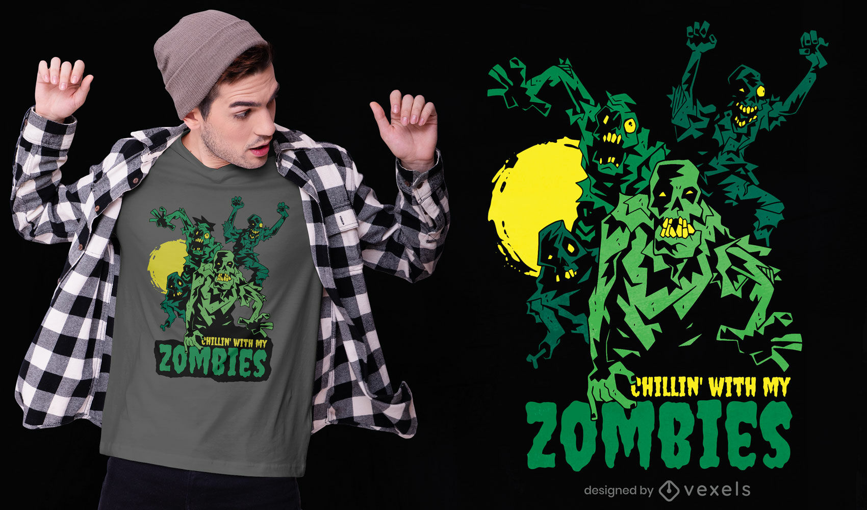 Halloween zombie monster t-shirt design