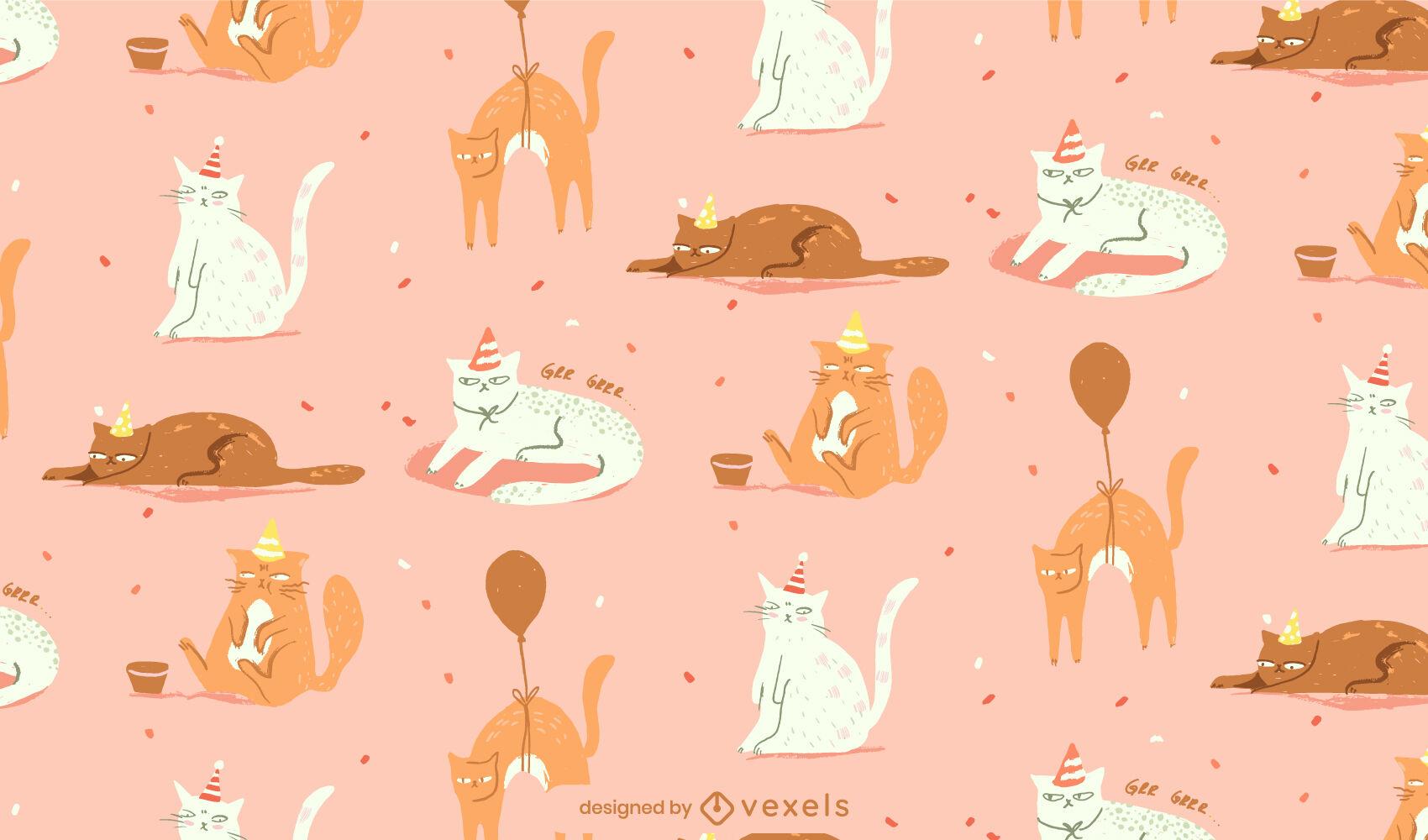 Grumpy cats illustration pattern
