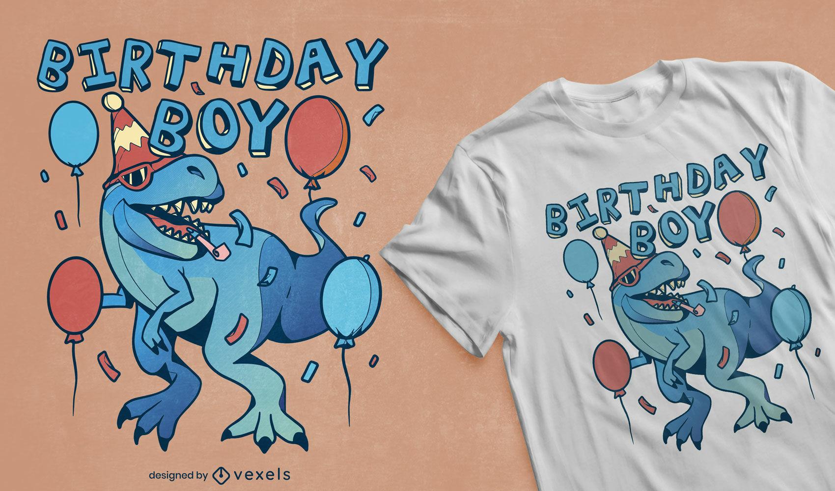 Design de camiseta para festa de aniversário de dinossauro T-rex