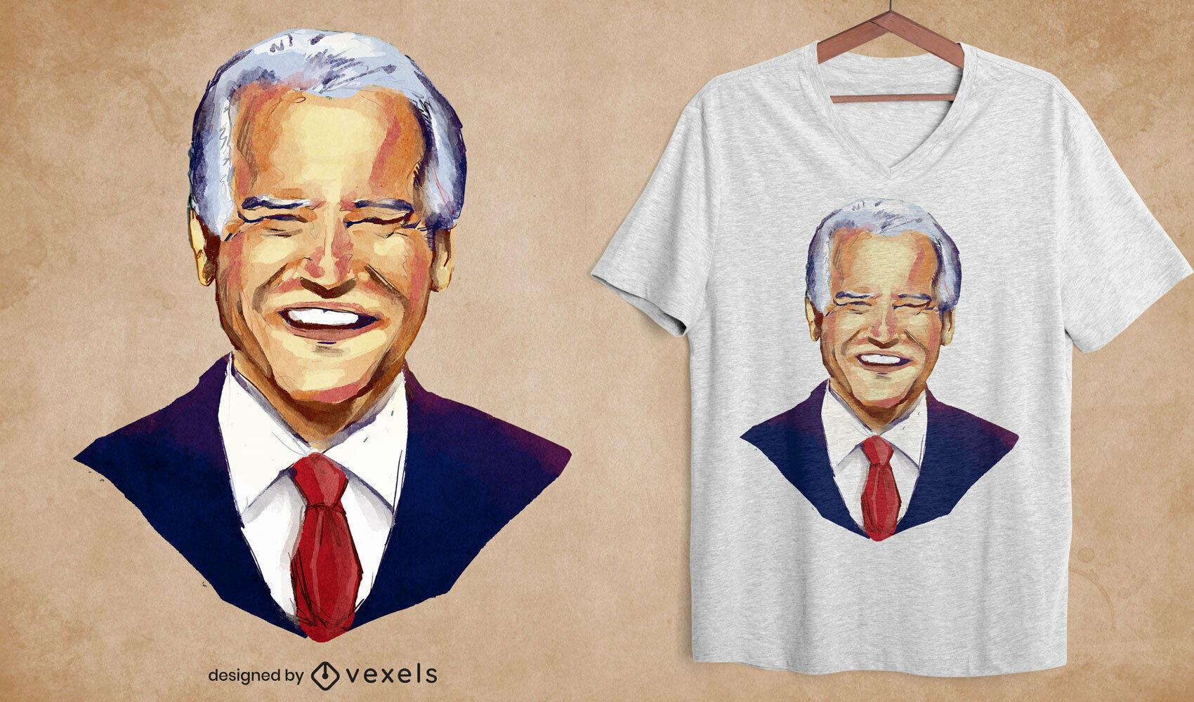 Diseño de camiseta de retrato de acuarela de Biden
