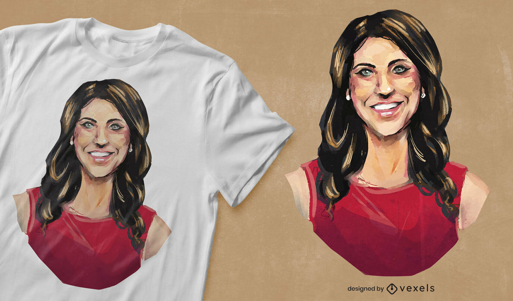 Aquarell Frau Porträt T-Shirt PSD