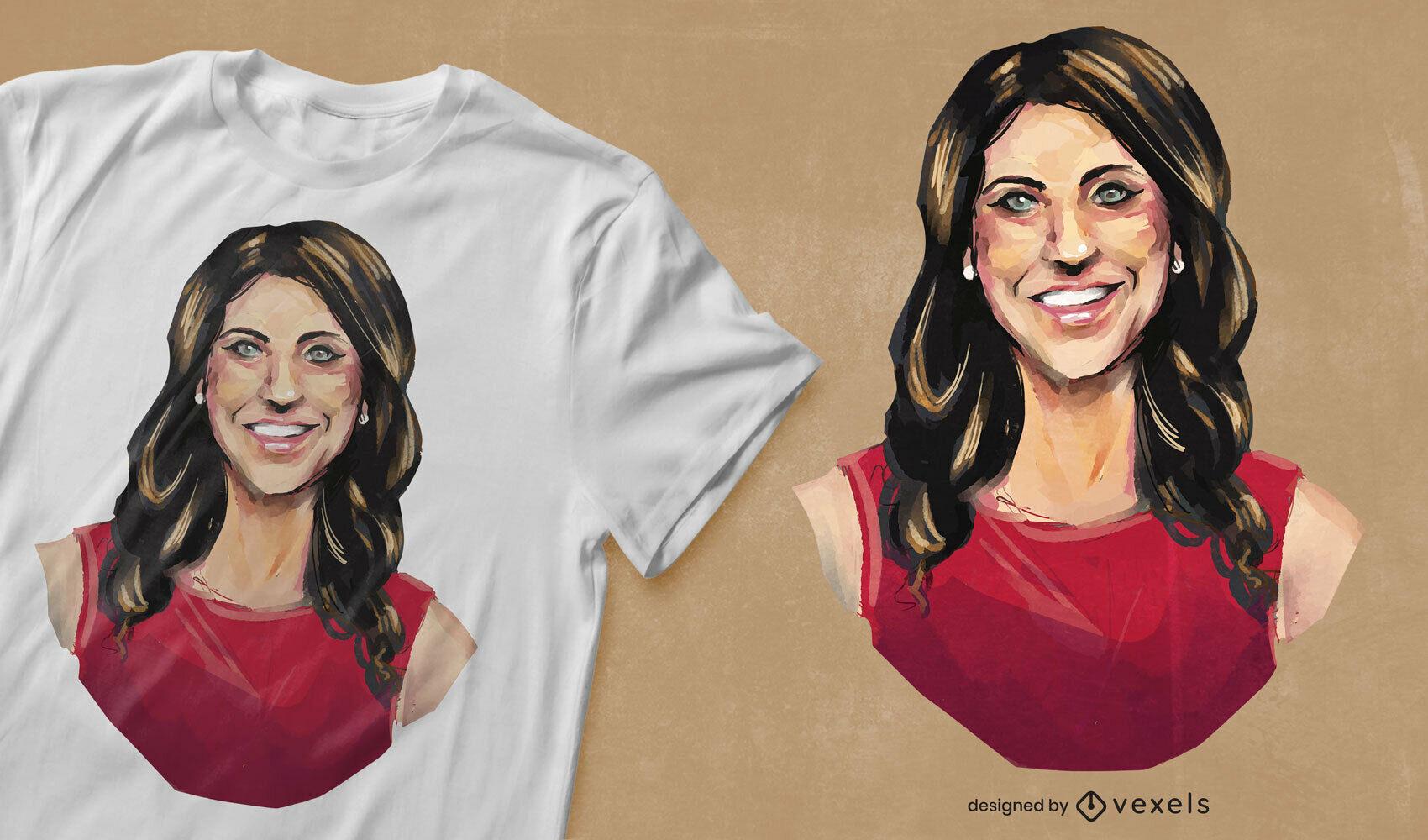 T-shirt com retrato de mulher aquarela psd