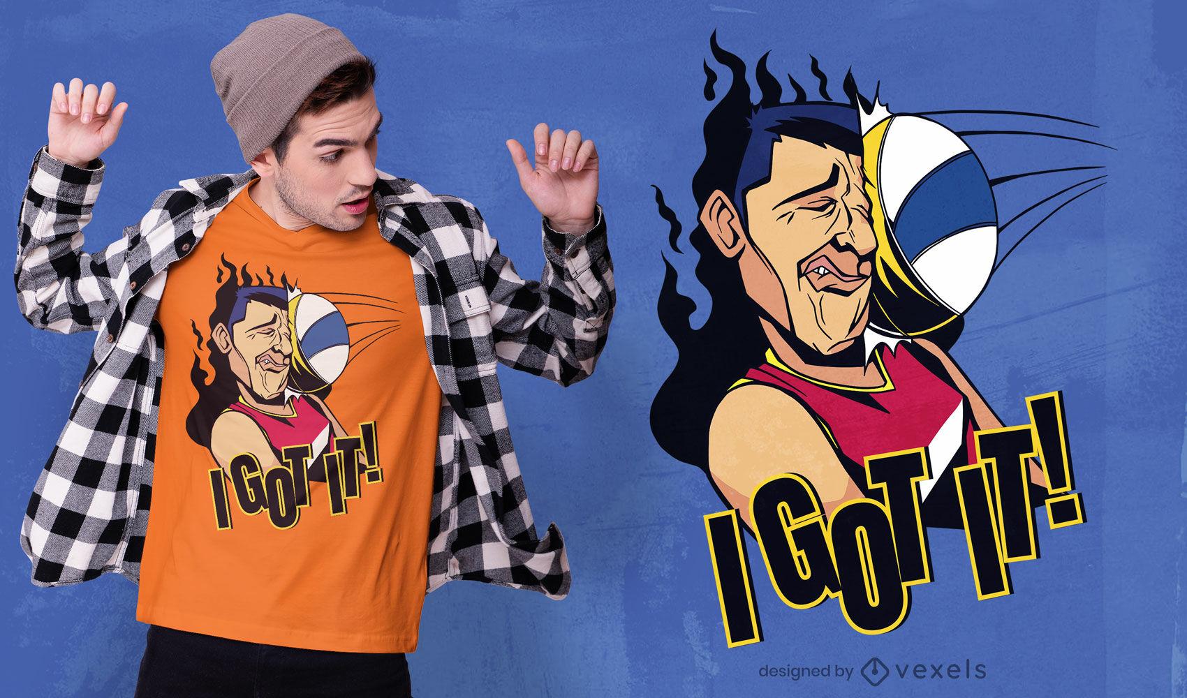 Diseño de camiseta de dibujos animados divertidos de jugador de voleibol