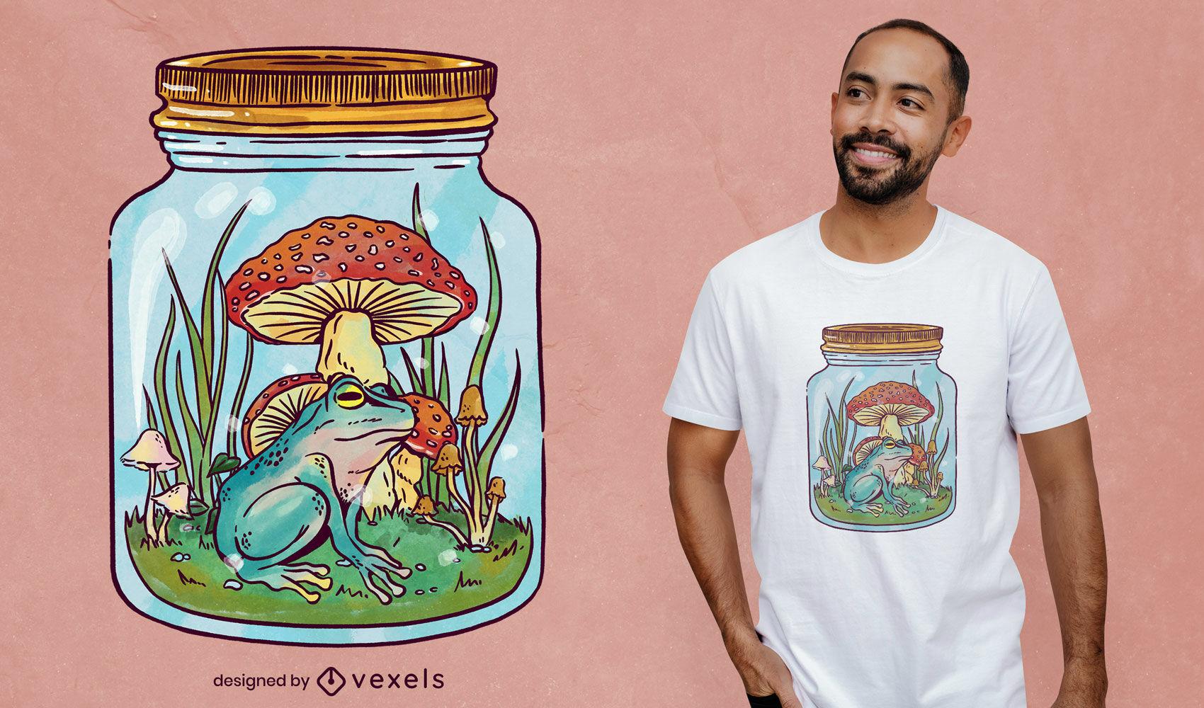 Frog in mason jar nature t-shirt psd