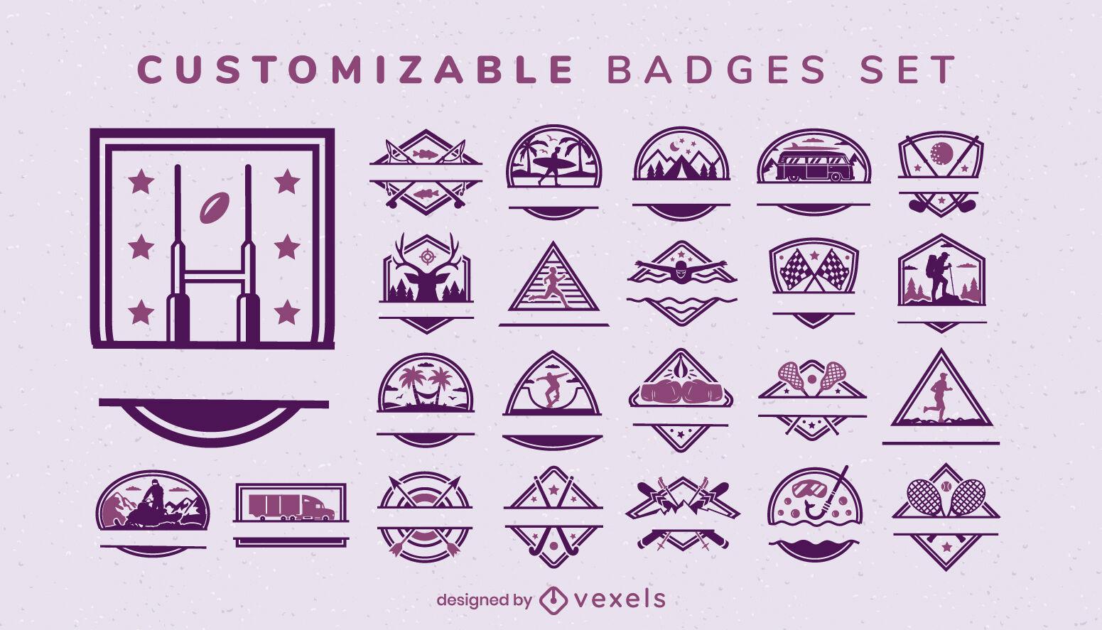 Conjunto de atividades personalizáveis e emblemas esportivos