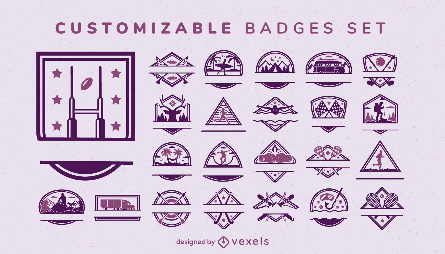 Customizable activities and sports badges set