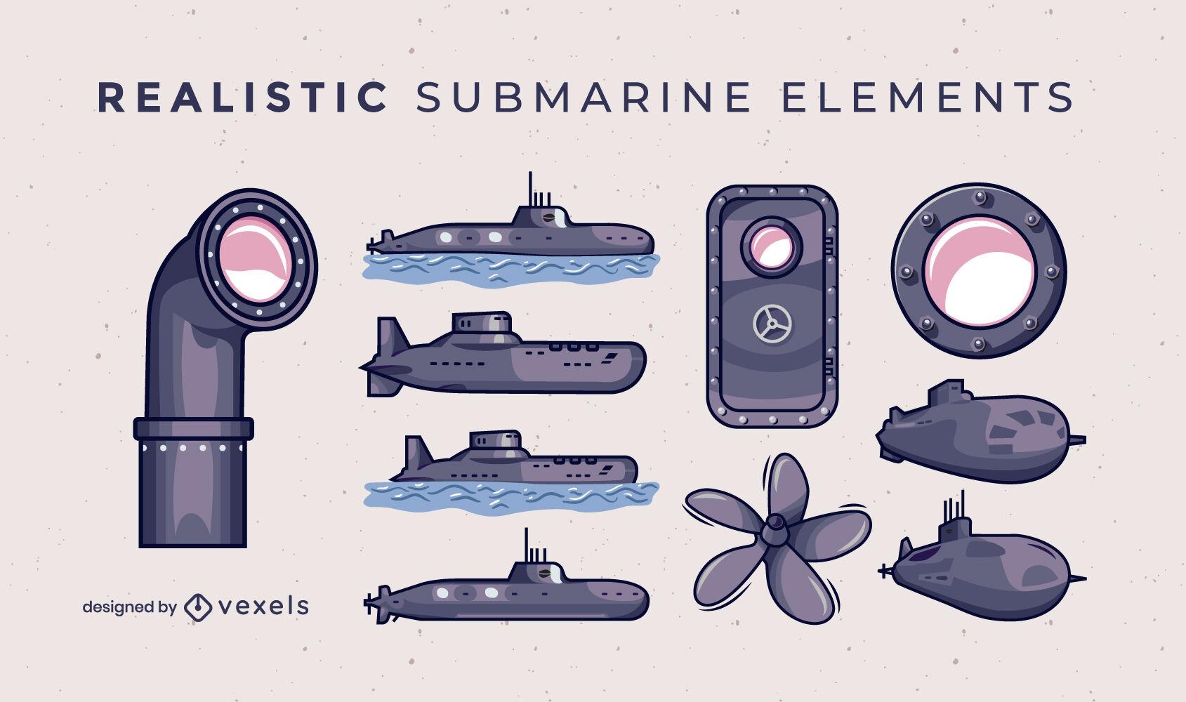 Submarine set of illustrated elements