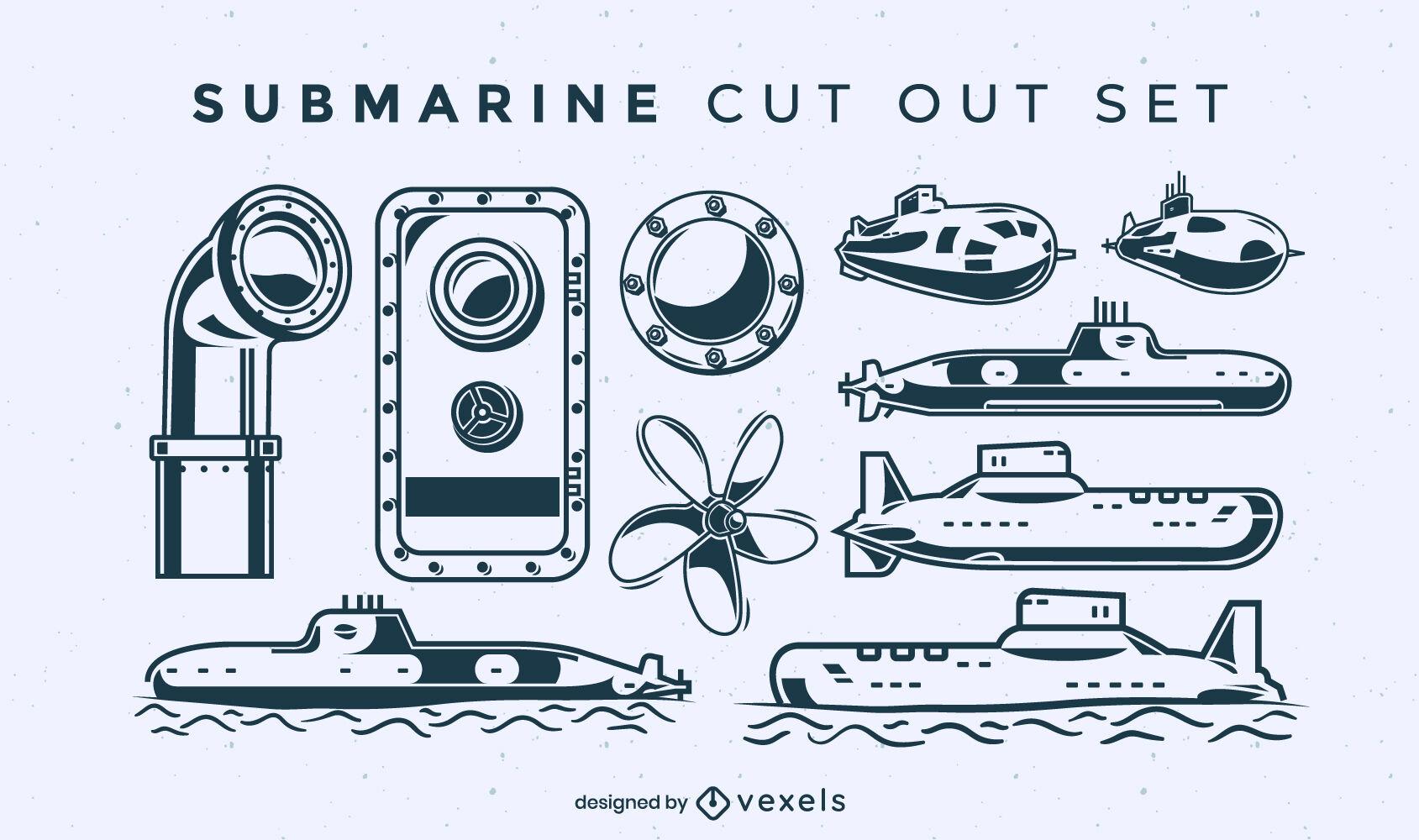 Conjunto submarino de elementos recortados.
