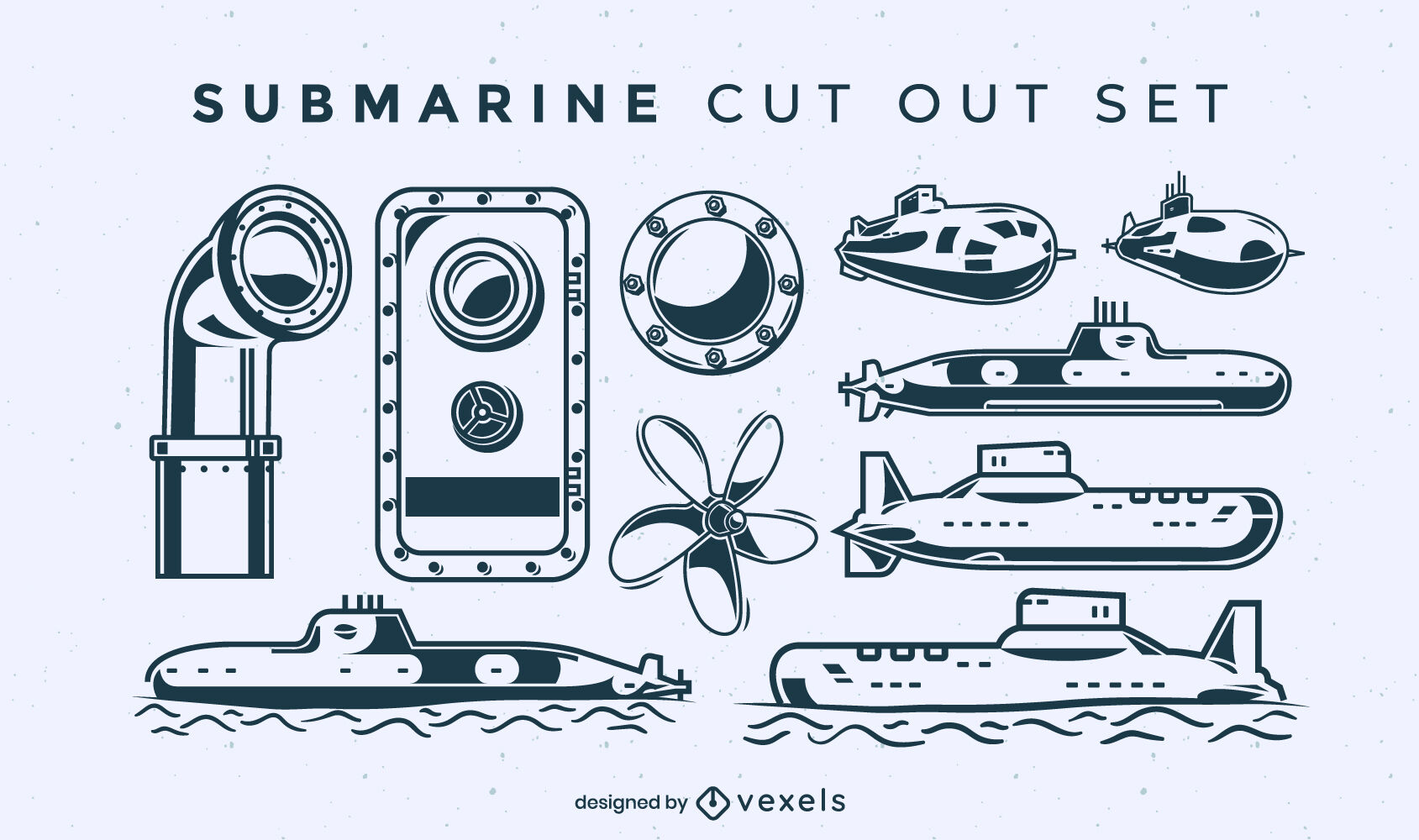 Submarine set of cut out elements