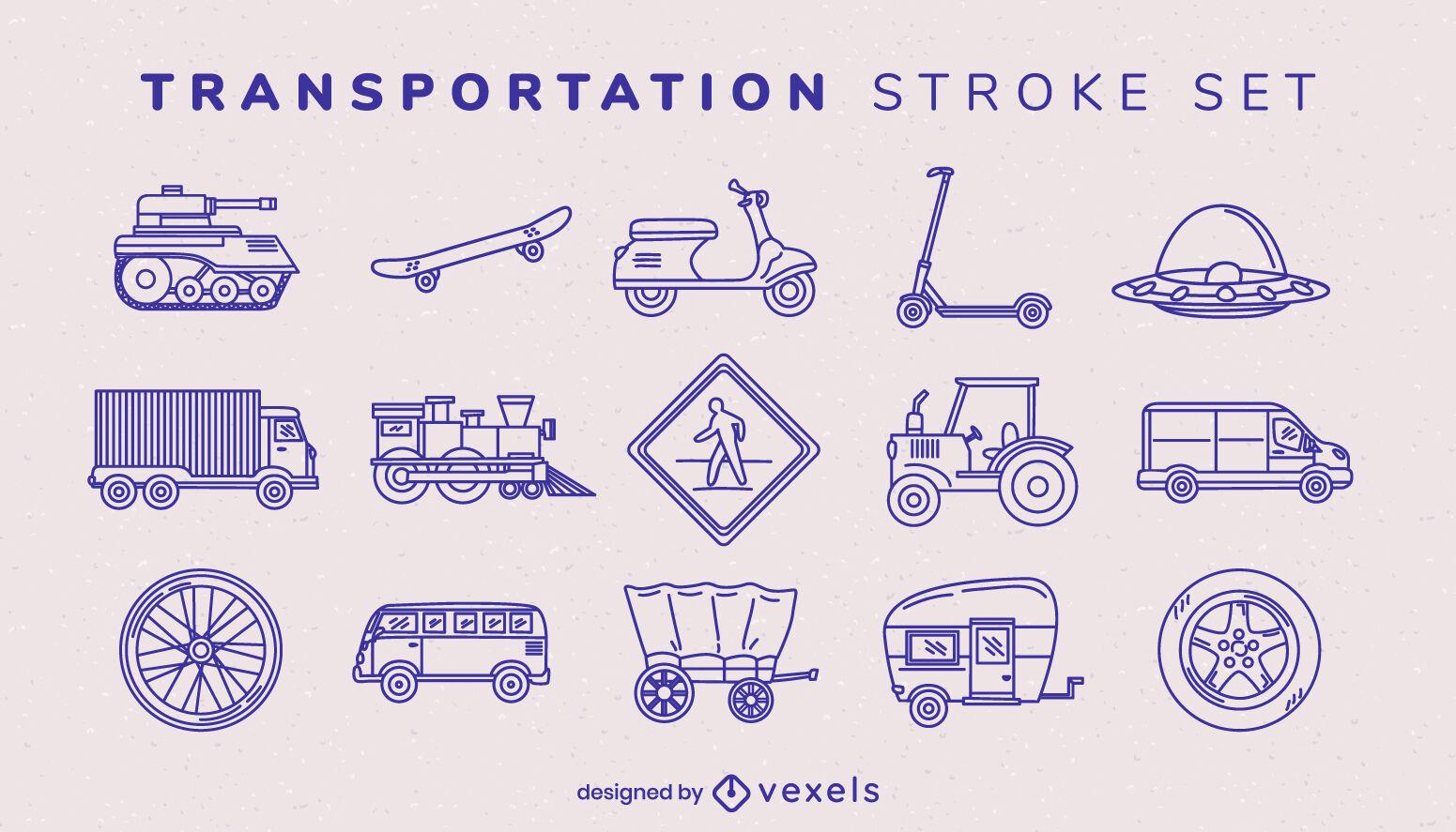 Transport items stroke set