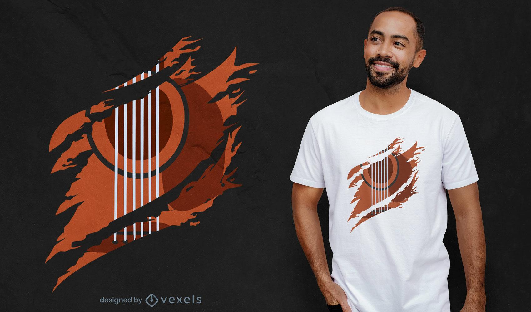Diseño de camiseta rasgada de instrumento musical de guitarra.