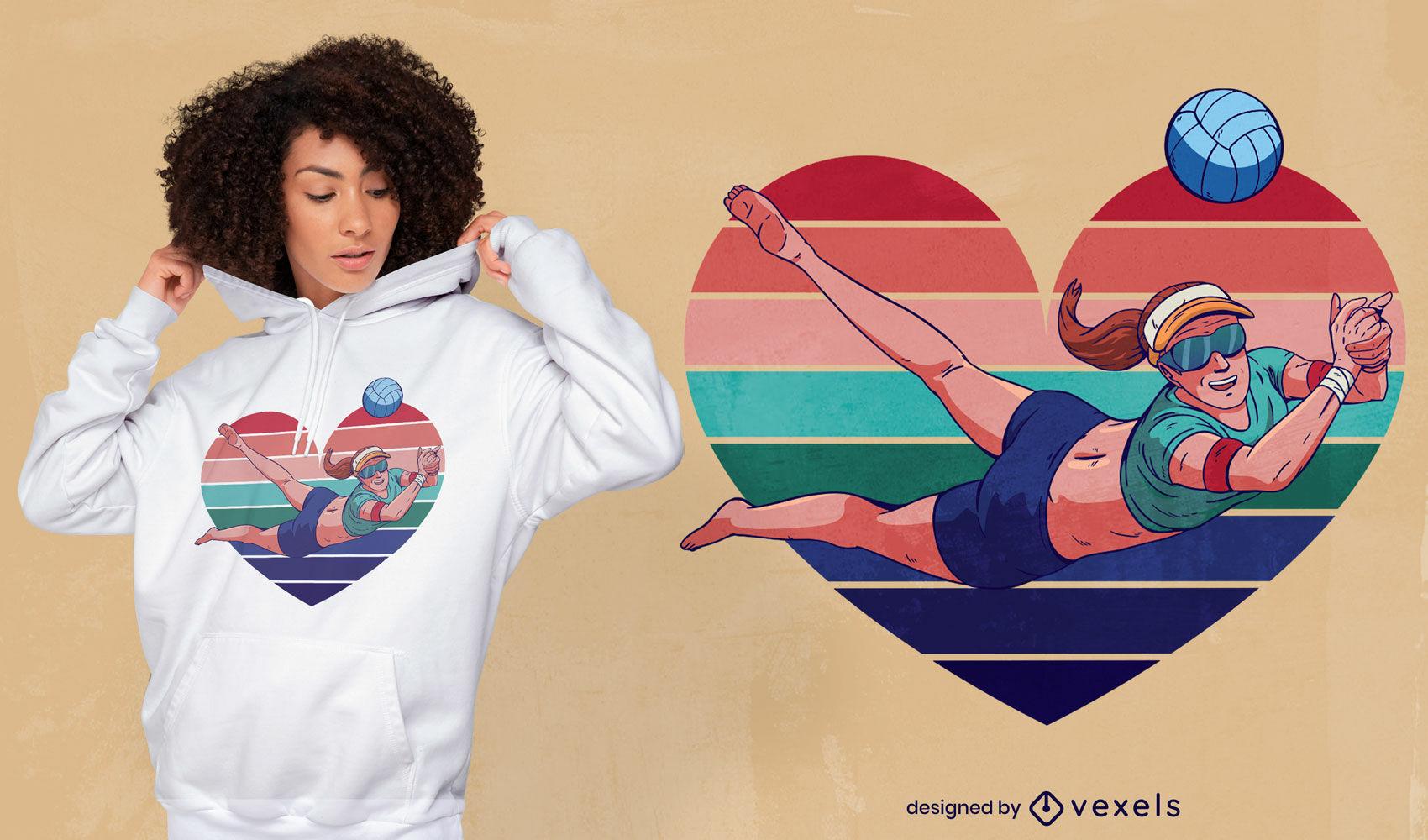 Diseño de camiseta de corazón de niña de deporte de voleibol