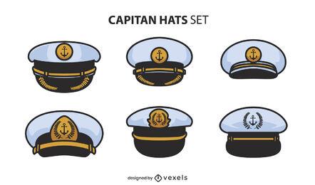 Captain color stroke set of hats